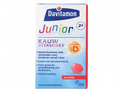 Davitamon Kauwtablet junior 2+ aardbei