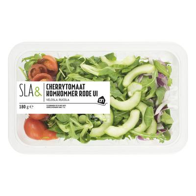 Huismerk Sla& cherrytomaat komkommer rode ui
