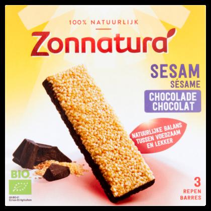 Zonnatura Sesam reep met pure chocolade
