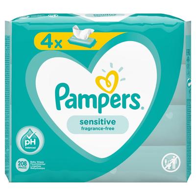 Pampers Sensitive Babydoekjes 4 Verpakkingen = 208 Doekjes