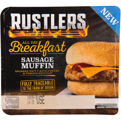 Rustlers All day breakfast sausage muffin