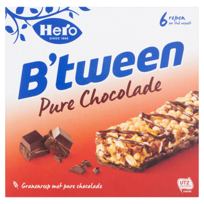 Hero B'tween Granenreep Pure Chocolade 6 x 23 g