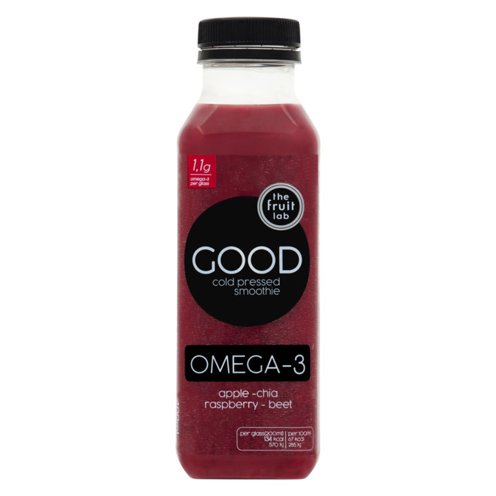 the fruit lab Good Cold Pressed Smoothie Omega-3 Apple - Chia Raspberry - Beet