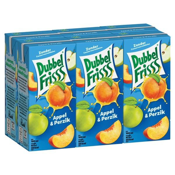 DubbelFrisss vruchtendrank appel perzik 6-pack