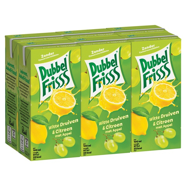 DubbelFrisss vruchtendrank witte druif citroen