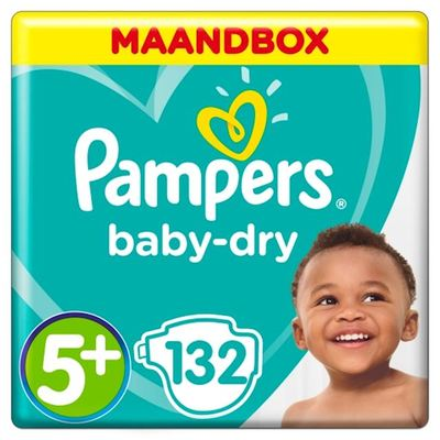 Pampers baby-dry luiers maat 5+, 12-17 kg maandbox
