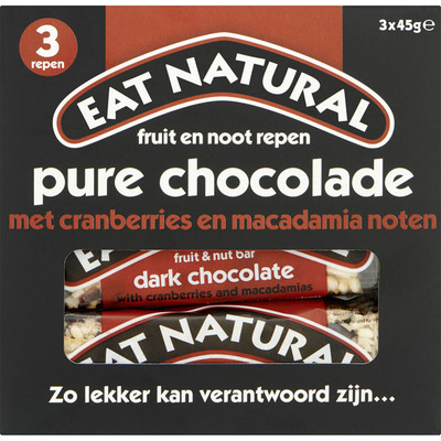 Eat Natural Fruit en noot repen pure chocolade