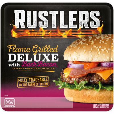 Rustlers Flame grilled deluxe burger